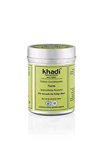 khadi Gesichtsmaske mit Neem 50g I Natürliche Gesichtspflege für normale bis fettige Haut I Ayurvedische Rezeptur aus Indien I Kontrollierte Naturkosmetik ohne künstliche Zusätze -
