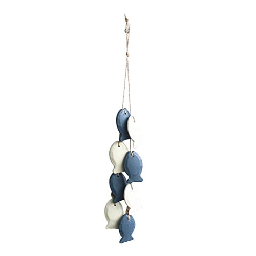 Vosarea Red de Pesca Decorativa Decoración Nautica de Pared Decoracion Marinera Retro Azul con Pez Pequeño Blanco