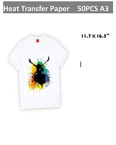 A3T-Shirt Transfers für Inkjet Drucker, Eisen HEAT TRANSFER Papier für weiß oder hellen Stoff T-Shirts, 43,2x 30,5cm 50Blatt -