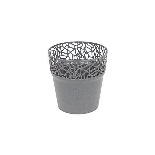 Blumentopf D 12 cm Kunststoff Spitze Übertopf Deko glitter grau rund Naturo - Glitter Spitzen