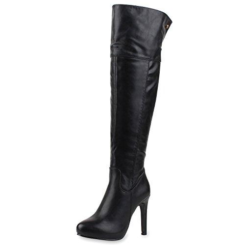 SCARPE VITA Elegante Damen Stiefel High Heels Nieten Stilettos Gefüttert 165541 Schwarz 36