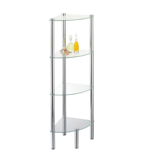 axentia Stand-Eckregal Solanio in Silber, Standregal für Bad & WC mit 4 Glasböden, rostfreies Badregal aus Glas & Chrom, Glasregal für das Badezimmer, Eck-Regal mit...
