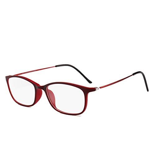 Shiduoli Rechteckige Brille Rahmen Student leichte Brille Computer Brille Männer, Frauen (Color : Red)