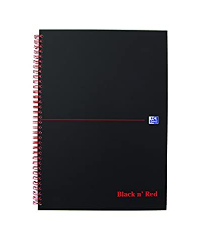Oxford Black n' Red Cahier Spirales A4 140 pages Ligné 8mm Noir