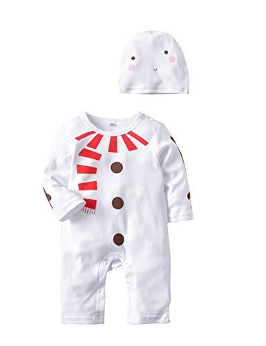 (BESBOMIG Baby Strampler Kleinkinder Weihnachten Babykleidung - Unisex Süße Hirsche Schneemann Pyjama Nachtwäsche Herbst Winter Overall mit Hut 2er Set)