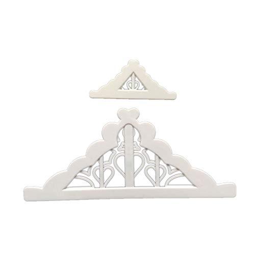Fornateu 2pcs / Set weißer Kunststoff-Fondant-Cutter-Kuchen Sugarcraft Form-Biskuit-Plätzchen-Kuchen-Werkzeuge verziert Mold -