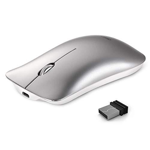 inphic Kabellose Maus, Slim Silent Click Wiederaufladbare 2,4G Wireless Maus 1600DPI Optische Portable Travel Laptop Funkmaus mit USB Empfänger für PC Computer MacBook, Space Silber