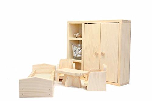 Holzschlafzimmer für Puppen / Holzschlafzimmer 5 Stücke / Holzschrank, -Bett, -Tisch und 2 Holzstühle / Satz mit 5 Holzspielzeuge (24 Stück-bett-satz)