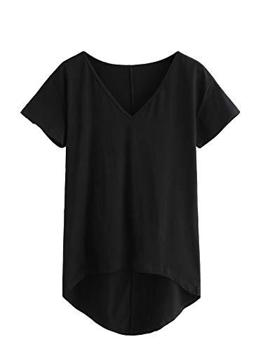 DIDK Damen V-Ausschnitt T-Shirt Kurzarmshirt Einfarbig Tops Casual Oberteile Asymmetrisch Locker Sommer Shirts Tunika Top Reines T-Shirts Schwarz S -
