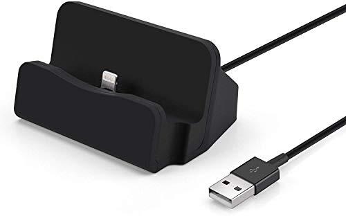 OKCS Dockingstation Ladestation kompatibel mit iPhone [inkl. 1m Kabel] Dock Ladegerät Sync 11, 11 Pro, 11 Max, XR, XS, XS Max, X,8, 8 Plus, 7, 7 Plus, 6s, 6s Plus, 6, iPod Nano 7, 5G - Schwarz