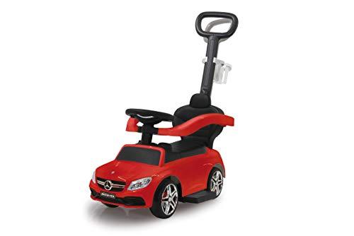 Jamara 460446 Rutscher Mercedes-AMG C 63 3in1-Kippschutz, Kofferraum, Schub-und Haltestange mit Lenkfunktion, Rückenlehne, Schutzbügel, ausziehbare Fußauflage, Sound/Hupe am Lenkrad, rot