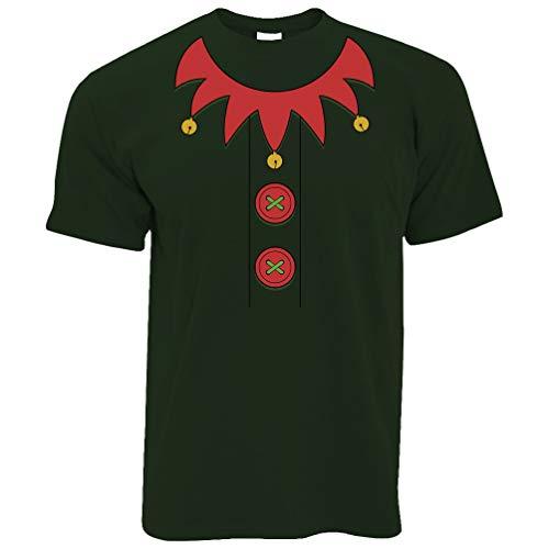 Billig Herren Kostüm Elf - Neuheit Weihnachten T-Shirt Festliche Elf-Partei-Kostüm Bottle Green X-Large