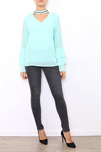 Lyse Damen Langarmshirt, Einfarbig One Size Wassergrün
