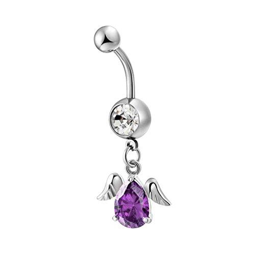 Beaums Frauen-Edelstahl-Wassertropfen Zircon baumeln Flügel Nabelglocke Knopf Ringe (Violett Ringe Button Belly)