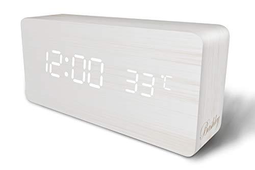 Bashley Reloj Despertador Digital,Cubo Ajustable Tiempo en Forma de Madera Control de Temperatura y Sonido Escritorio Despertador para niños, hogar, Oficina, Todos los días, Camiones Pesados