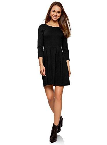 oodji Ultra Damen Tailliertes Kleid mit Ausgestelltem Rock, Schwarz, DE 36 / EU 38 / S
