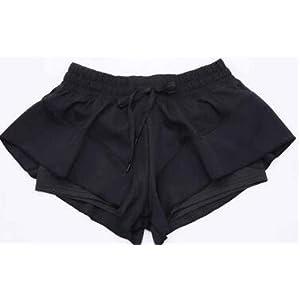 MAYUAN520 Sommer sexy Fitness Shorts Fake 2 Stück Frauen Fitnessstudio Kleidung Sport Yoga Shorts Flounced läuft Weiblich Kurze Hosen