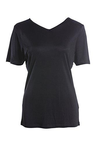 SUPERIOR NATURALS, Damen T-Shirt, V-Ausschnitt, 100% Seide, Interlock, Schwarz, L, 44/46 -