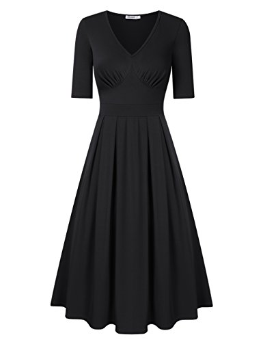 KoJooin Damen Midikleid Vintage Kleid Cocktailkleid Abendkleid V Ausschnitt Halbarm Schwarz S