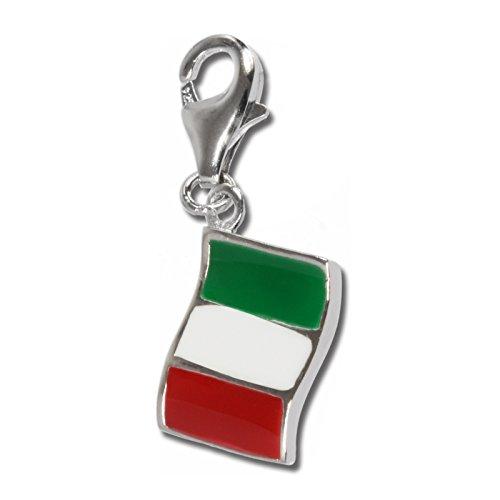 SilberDream Charm 925 Echt Silber Anhänger mehrfarbig Flagge Italien FC705