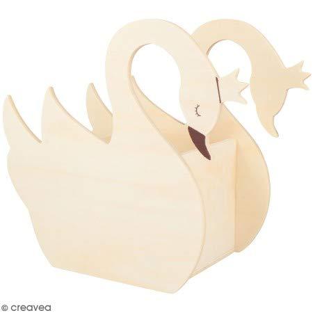 Portapenne a forma di cigno, in legno, da decorare, 20,5 x 10,5 x 18 cm