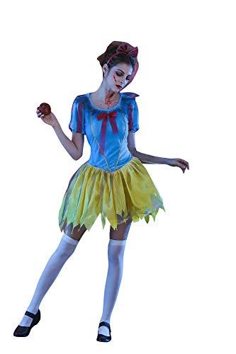 Kostüm Gruselig Damen - thematys Gruseliges Schneewittchen Kostüm-Set für Damen - perfekt für Halloween, Fasching & Karneval - 4 Verschiedene Größen (L)