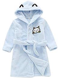 QitunC Albornoz con Capucha para Niños Calentar Albornoces Franela Suave Ropa De Dormir Azul 100