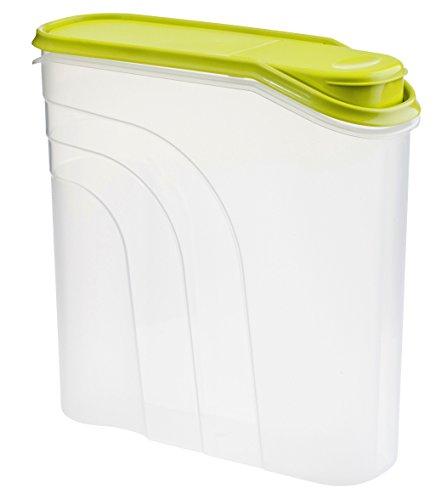 Rotho Müslidose Fresh mit Deckel und Verschlussklappe zum Schütten, Plastik, transparent/grün, mittel (4.1 l)