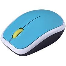 Kinobo – Mouse Inalámbrico USB 2.0 2.4GhZ Con Clic Silencioso y Nano Receptor - Ideal para Portátiles - Azul y Blanco