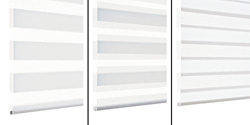 GARDINIA Doppelrollo zum Klemmen oder Kleben, Duo-Rollo/ Seitenzugrollo, Transparente und blickdichte Streifen, Alle Montage-Teile inklusive, Weiß, 90 x 220 cm (BxH) - 3