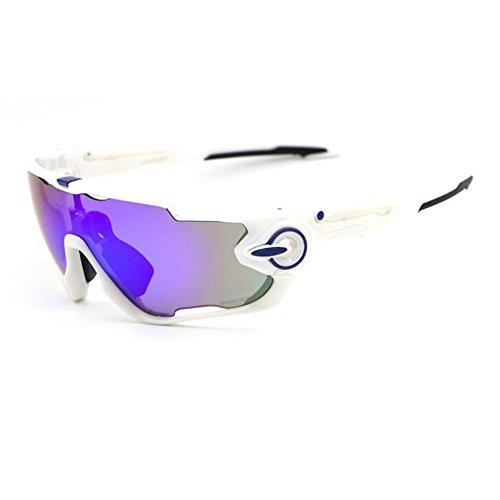 ZoliTime Radfahren Sonnenbrille polarisierte Herren Sportbrille 4 Objektiv Radfahren Brille Fahrradbrille (Weiß)