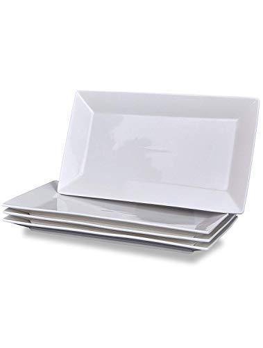 Klikel 4 Servierplatten - klassischer weißer Teller - Serviertablett für Partys - Mikrowellen- und spülmaschinenfest - 6,5 x 14 cm Street Accent Platte