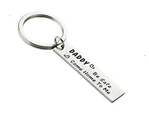 Epinki Acier Inoxydable Porte-clés Gravé Daddy be Safe Come Home to me Argent Porte-clés pour Femme et Homme