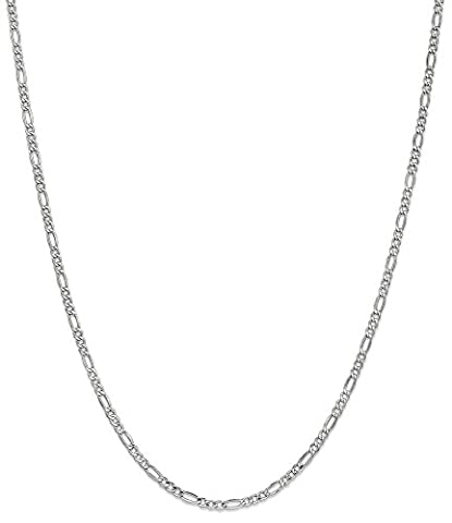 IceCarats 14k 2.5mm White Gold Link Figaro Chain Necklace 24 Inch