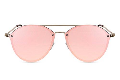 Cheapass Sonnenbrille Rund Rosé-Gold Verspiegelt Flat-Mirror Flach-e Gläser Designer-Brille Rahmenlos Metall Damen Frauen