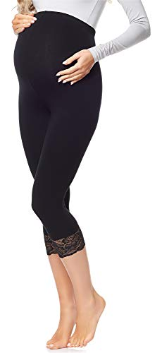 Be Mammy 3/4 Umstandsleggings BE20-161 (Schwarz, L)
