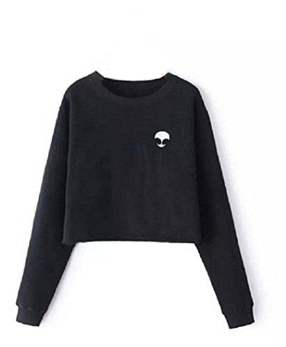 Qissy®Frauen Hot Alien Stampa Bassiera Langarm T-shirt (One size, Nero)