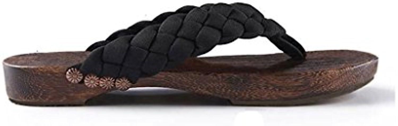 LI SHI XIANG SHOP Hausschuhe Clogs Herren Flip Flops im Chinesischen Stil Rutschfeste Freizeit Holz Sandalen Japanischen