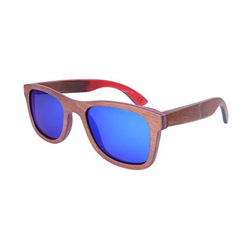 Zbertx Neue Ankunft Skateboard Holz Sonnenbrille Polarisierte Handgemachte Original Holz Sonnenbrille Für Freunde,Blau