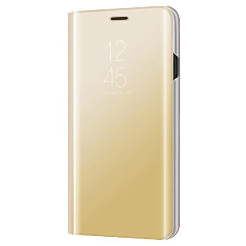 Xmas Mall Caso Mi 8 Pro,[Función de Kickstand][Espejo Protector][Ventana de Vista translúcida] Ultra-Delgado Lujo Galvanizar Enchapado Inteligente Caso Funda para Xiaomi Mi 8 Pro - Oro