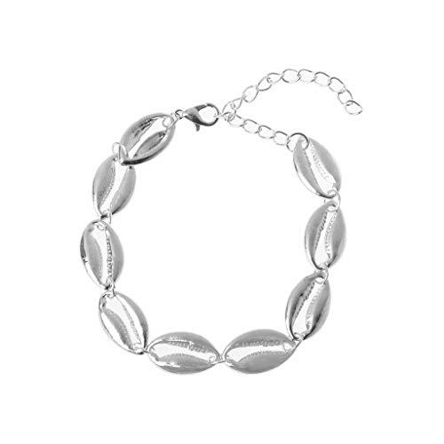 JERKKY Muschel-Armband aus Metall Kauri-Perlen Hawaiian Beach Style Armbänder Silber (Red Sea Armband)