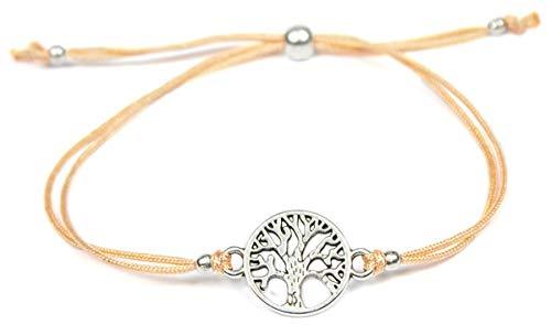 Milosa Armband Frauen Lebensbaum Silber - Handmade - größenverstellbares Textil-Band - Armkette - bracelet - Geschenk, Armbänder Makramee:Pfirsichfarben -