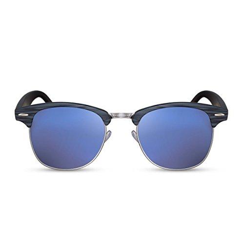 Cheapass Sonnenbrille Schwarz Blau Verspiegelte Gläser UV400 Retro Festival Must-Have Damen Herren