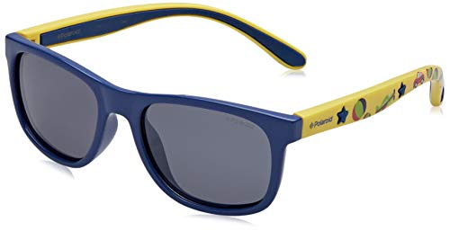 Polaroid Unisex-Kinder PLD 8012/S JY MDY Sonnenbrille, Blau (Bluette Yellow/Greyblmirror Pz), 46