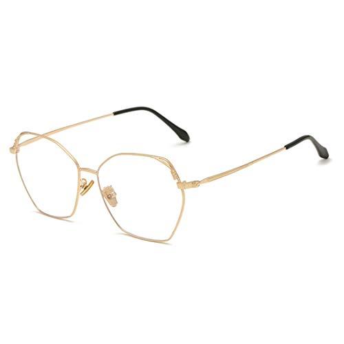 Funytine Anti-Blue Light Brillen Fashion Metal Polygonal Frame Unisex Gefälschte Brillen for Frauen (Color : Gold)