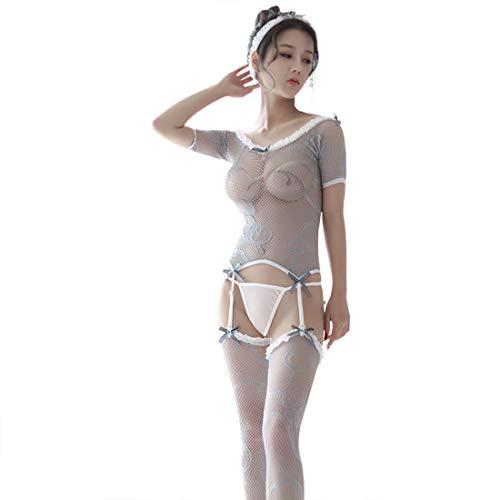 WHWH Sexy Dessous Frauen Knospe Seide Gaze Uniform Tube Top Liebsten Sexy Bodysuit Strümpfe Set Flirten,Grey-OneSize -