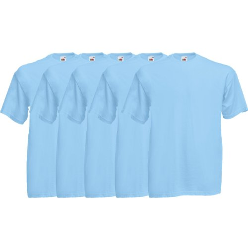 Fruit of the Loom Original Valueweight T Rundhals T-Shirt F140 5er 10er 15er 20er Pack 5x sky blue