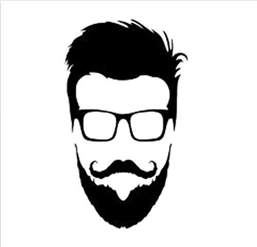 9,3 cm * 15,9 cm Hipster Brille Bart Kopf Vinyl Auto Aufkleber Motorrad Schwarz/Silber/3PCS