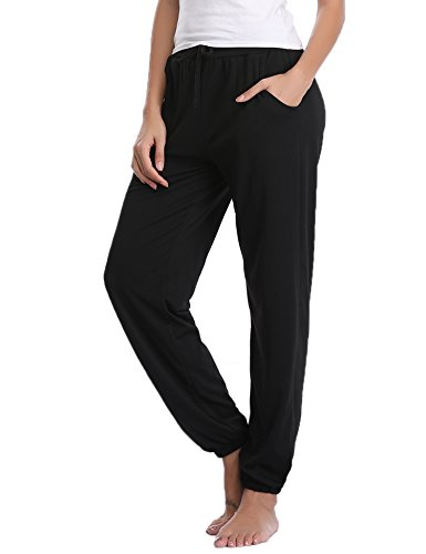 Abollria Damen Schlafanzughose Pyjamahose Baumwolle Nachtwäsche Hose Sporthose Freizeithose Jogging Hose Traininghose Fitness High Waist Lang Sleep Hose Pants