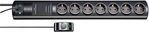 Brennenstuhl Primera-Tec Comfort Switch Plus, Steckdosenleiste 7-fach mit Überspannungsschutz (2m Kabel, Schalter und RJ-11-Verbindung) Farbe: schwarz